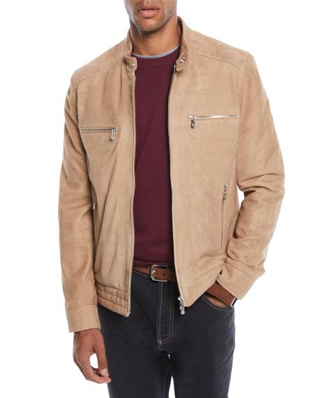Men's Zip-Front Lambskin Suede Jacket