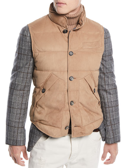 Men's Quilted Suede Button-Front Vest