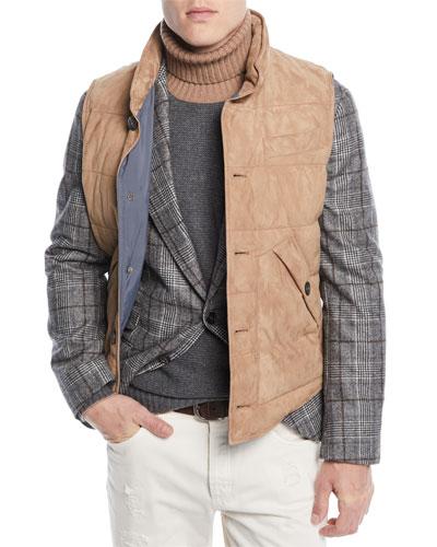 Men's Quilted Suede Button-Front Vest