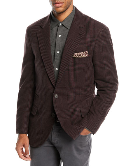 Men's Prince of Wales Check Sport Jacket, Plum