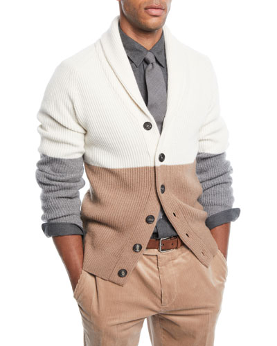 Men's Colorblock Shawl-Collar Cardigan