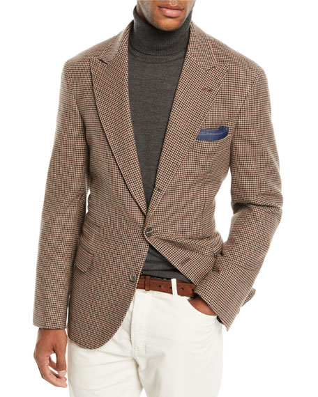 Brunello Cucinelli Men's Houndstooth Wool-Blend 3-Button Sport