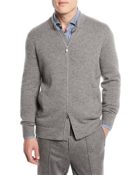 Wool/Cashmere Zip-Front Cardigan