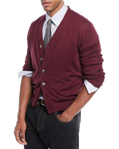 Men's Fine-Gauge Wool-Blend Cardigan