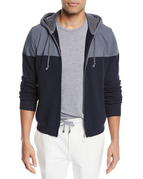 Brunello Cucinelli Men's Spa Colorblock Cotton-Stretch Hoodie