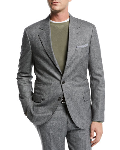 Men's Houndstooth Two-Piece Wool Suit