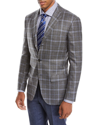 Men's Plaid Cashmere Three-Button Jacket