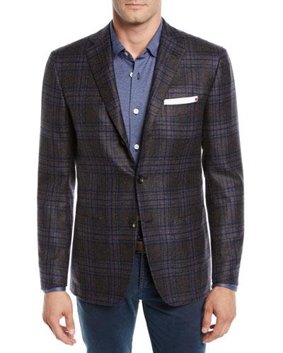 Men's Cashmere Plaid Three-Button Jacket