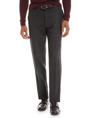 Men's Wool-Cashmere Flat-Front Trousers
