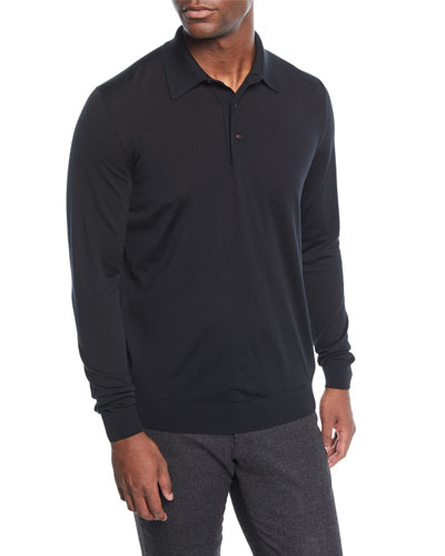 Men's Long-Sleeve Wool Polo Shirt