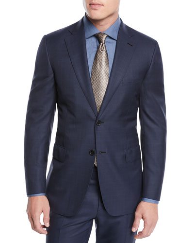 Men's Two-Piece Plaid Wool Suit