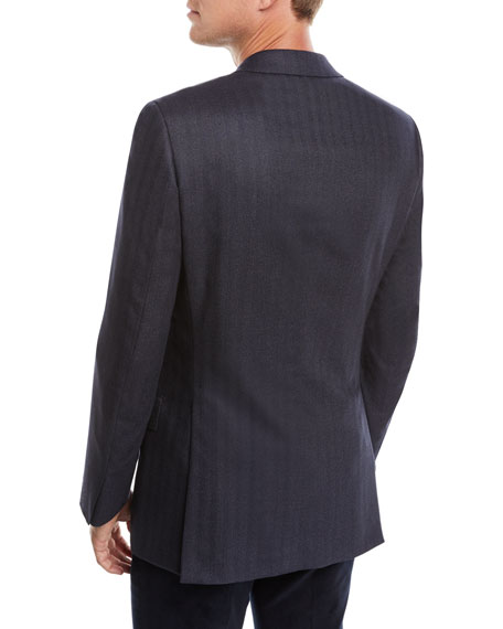 Men's Striped Herringbone Two-Button Jacket
