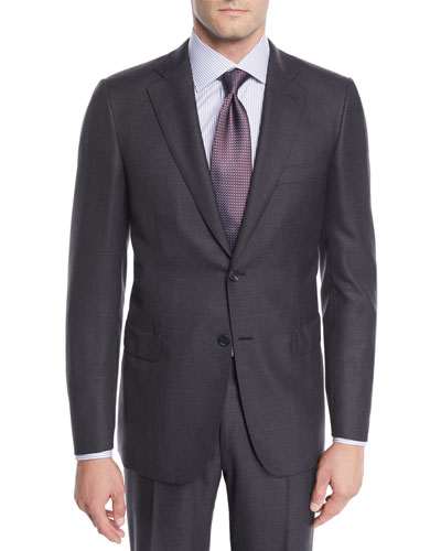 Men's Wool Windowpane Two-Piece Suit