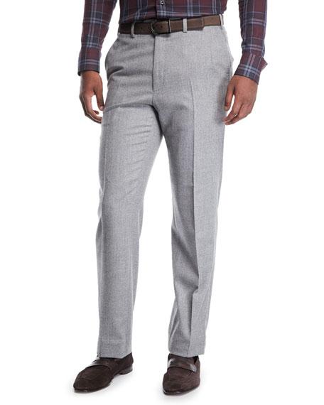 Men's Flat-Front Wool Trousers