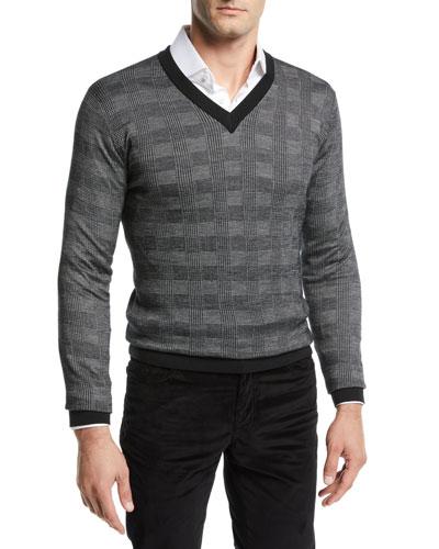 Men's Cashmere Plaid V-Neck Sweater