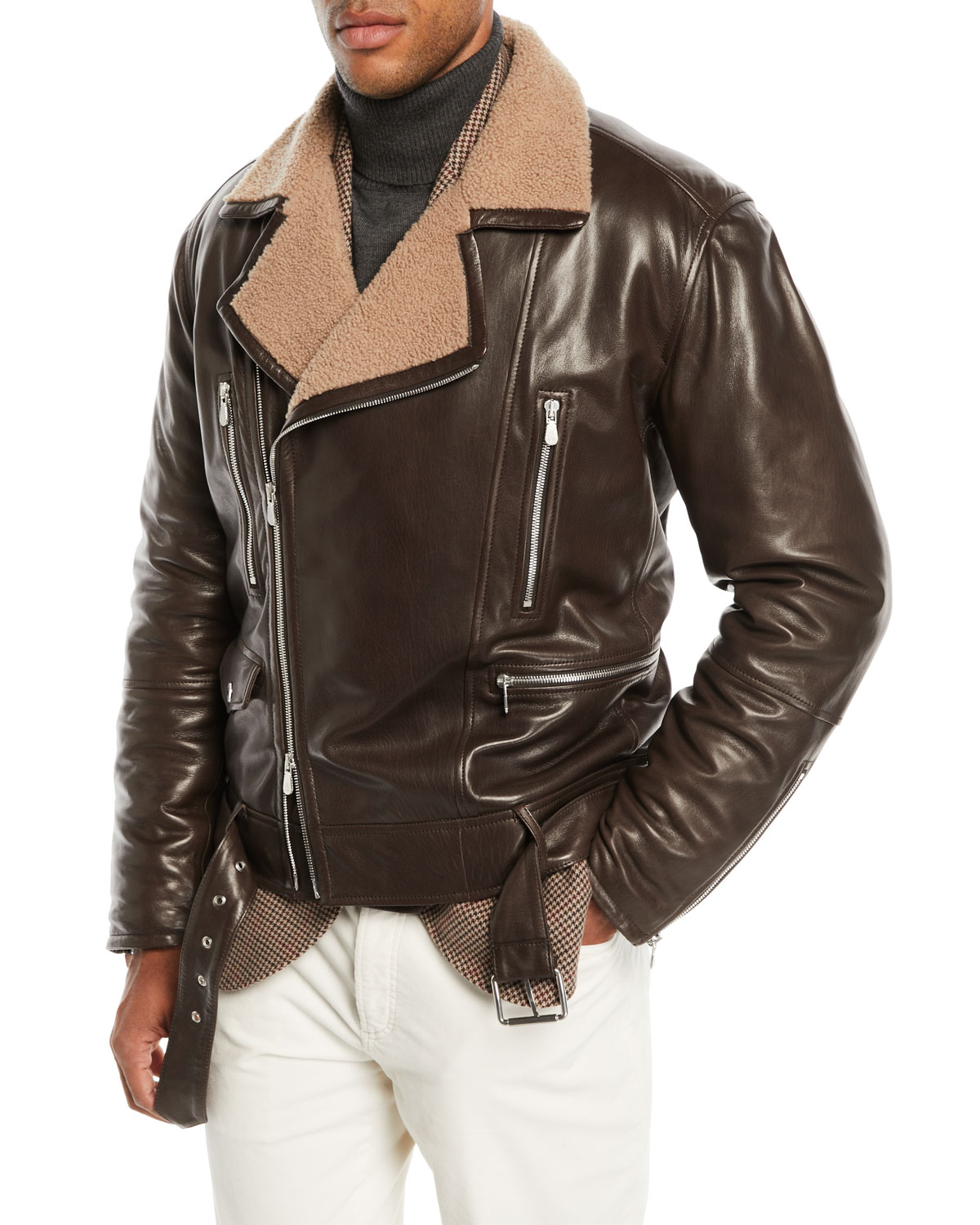 Brunello Cucinelli Men S Shearling Lined Leather Moto Jacket