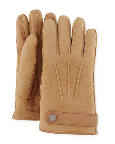 Men's Shearling-Lined Suede Gloves