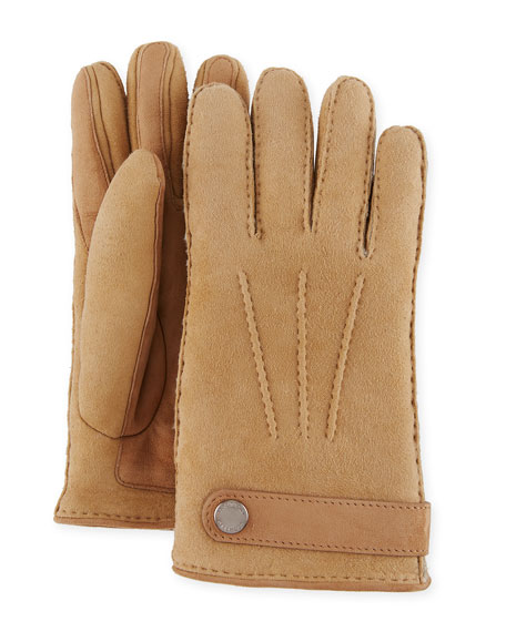 Men'S Shearling-Lined Suede Gloves, Camel