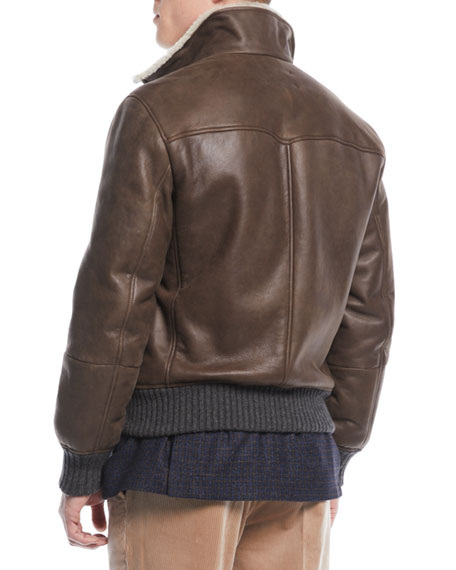 Men's Shearling-Trim Short Leather Jacket
