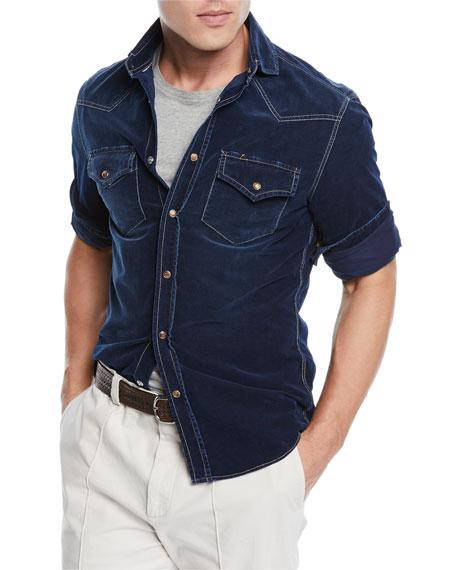 Brunello Cucinelli Men's Leisure-Fit Denim Sport Shirt