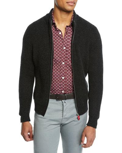 Men's Rib Full-Zip Cashmere Sweatshirt