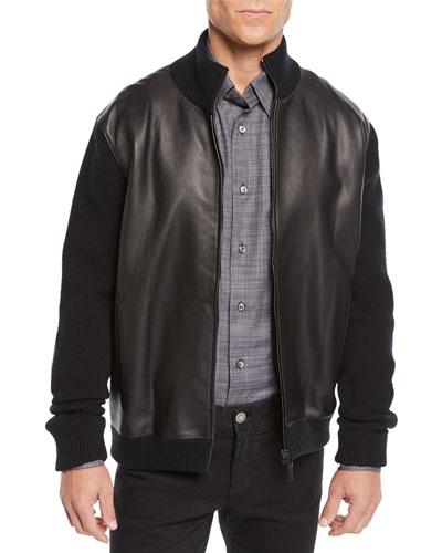 Men's Leather-Front Zip Knit Blouson Jacket