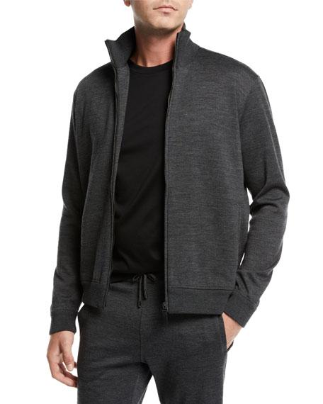 BRIONI Men'S Heathered Jersey Zip-Front Jacket in Gray