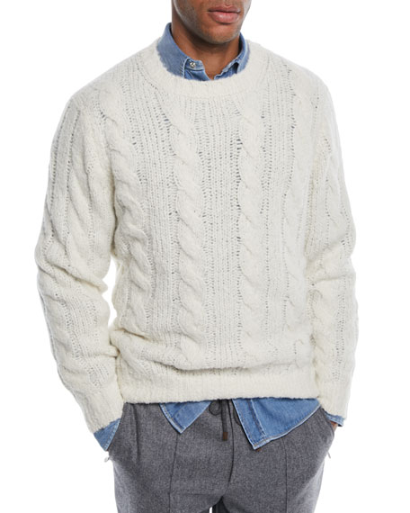 Brunello Cucinelli Men's Cable-Knit Crewneck Sweater