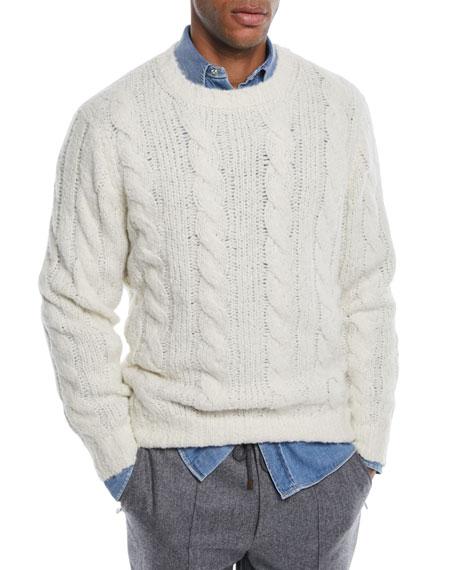 Men's Cable-Knit Crewneck Sweater
