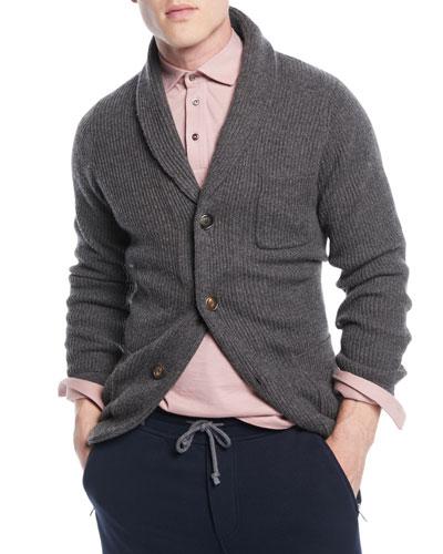 Men's Cashmere Shawl-Collar Cardigan Sweater