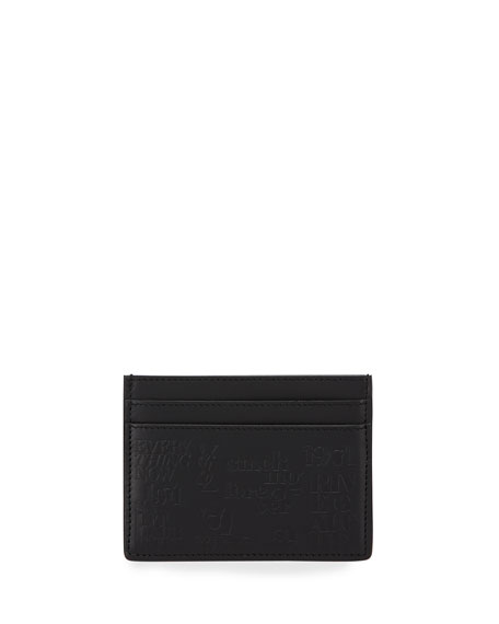 Men's 1971 Typography Embossed Leather Card Case
