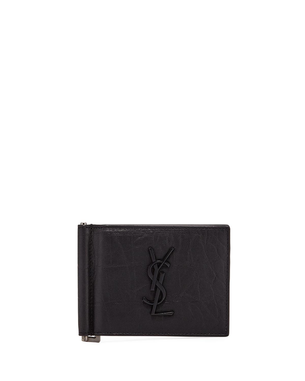 d57a68784c2f3 Saint Laurent Men s YSL Leather Billfold Wallet w  Money Clip ...