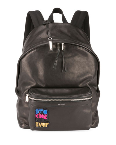 Men's City Appliqué Leather Backpack