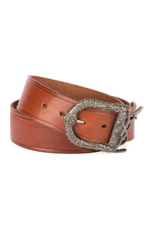 Saint Laurent Men's Leather Belt with Ornate Buckle, Dark Brown