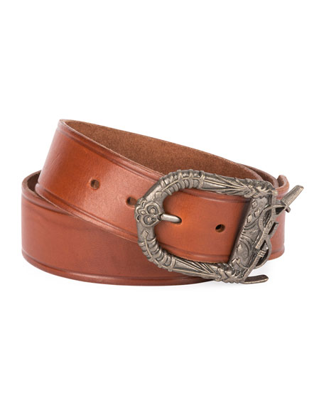 Men's Leather Belt with Ornate Buckle, Dark Brown