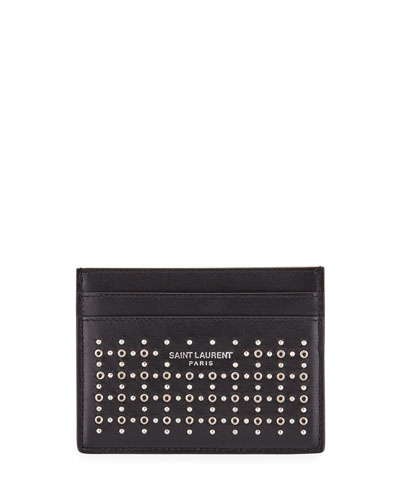 Men's Studded Leather Card Case