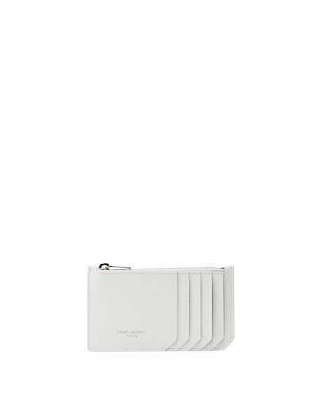 Saint Laurent Leather Zip Card Case