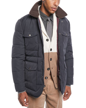 f2745dd96864 Brunello Cucinelli Men s Padded Technical Puffer Jacket with Shearling Trim