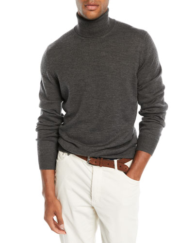 Men's Wool-Cashmere Chunky Turtleneck Sweater