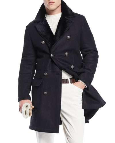 Men's Fur-Lined Double-Breasted Overcoat