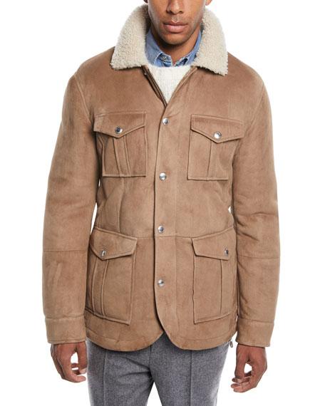 Men's Fur-Lined Suede Safari Jacket