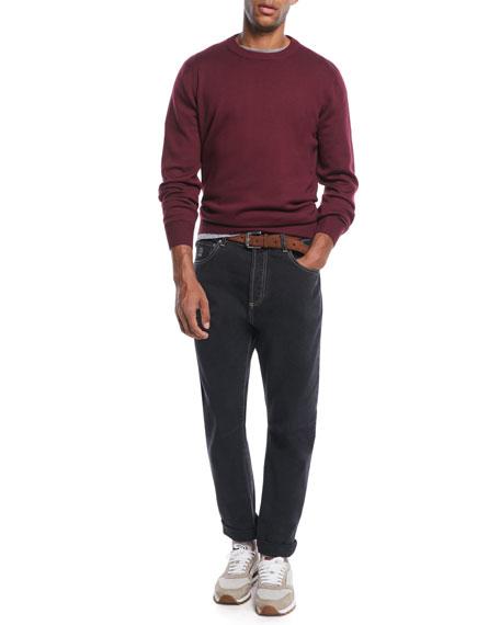 Men's Contrast-Topstitched Denim Pants