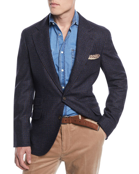 Brunello Cucinelli Bicolor Micro-Check Sport Jacket