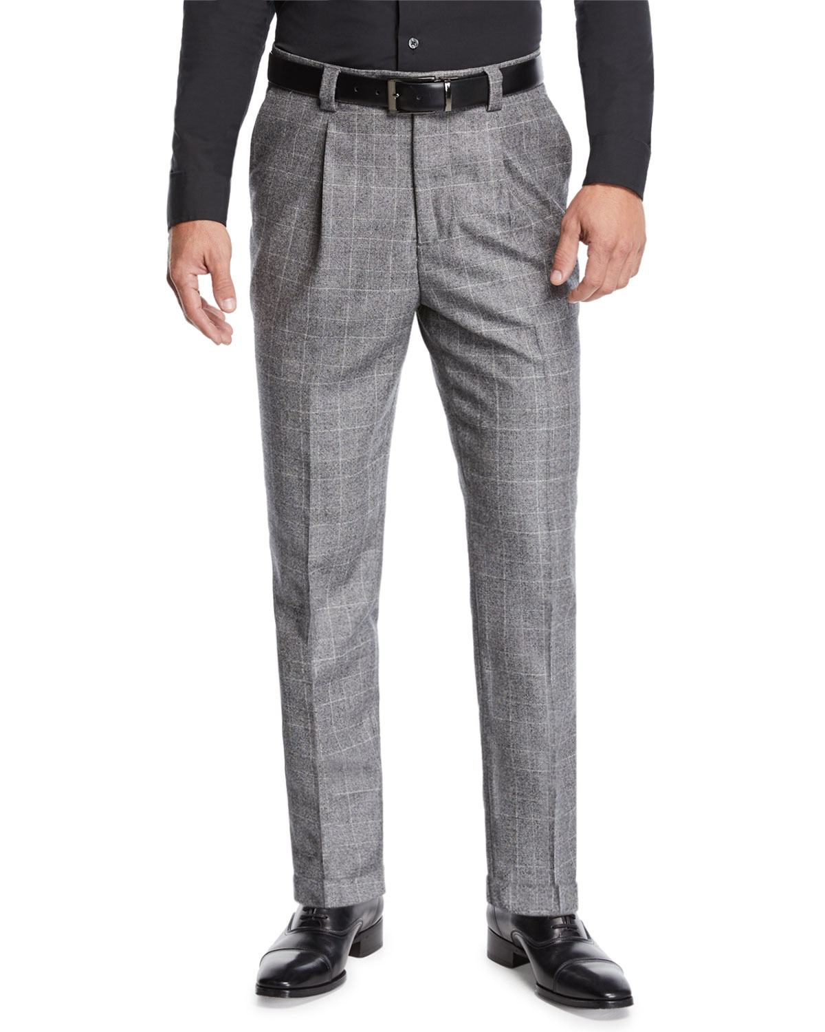 Brunello Cucinelli Men's Leisure Fit Single-Pleat Check Pants