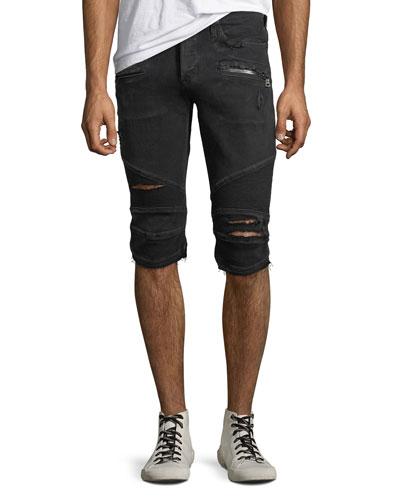 Men's The Blinder Distressed Biker Denim Shorts