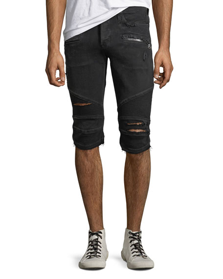 Men's The Blinder Distressed Biker Denim Shorts