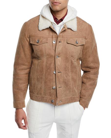 Brunello Cucinelli Men's Shearling Fur-Lined Leather Trucker