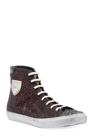 Saint Laurent Men's Bedford Solid Glitter High-Top Sneakers
