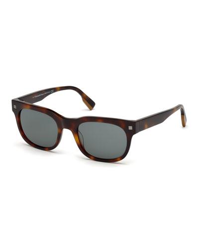 Men's Rectangular Tortoise Plastic Sunglasses