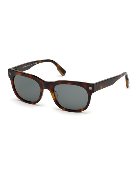 Men's Rectangular Tortoise Plastic Sunglasses